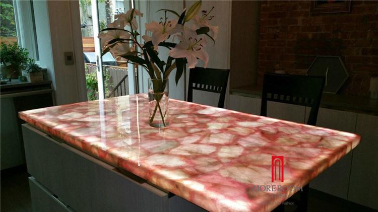 China Natural Rosa Pink Quartz Semi Precious Stone Countertop Slab Gemstone Translucent