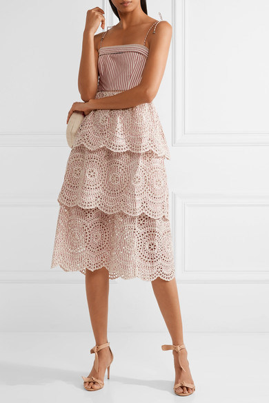 Hot Item 2017 High Quality Poplin Trimmed Striped Pink Striped Layered Lace Dress