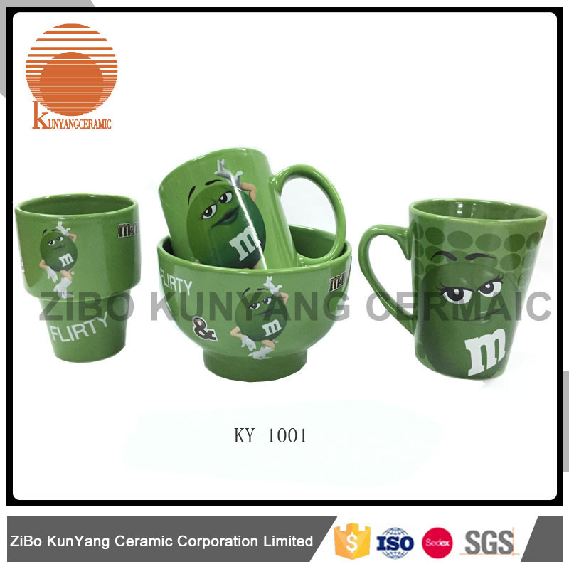 Mars mm Green Decal Mug with Bowl Set