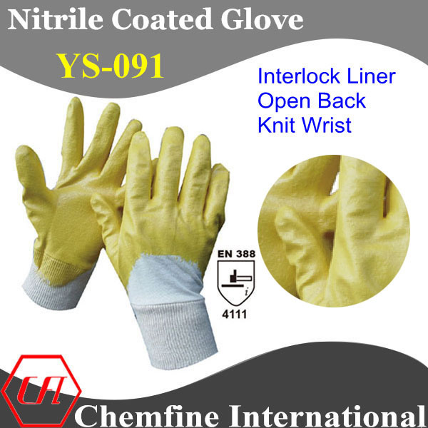 "Interlock Glove with Yellow Nitrile Coating & Open Back & Knit Wrist/ En388: 4111/ Size 7"", 8"", 9"", 10 (YS-091)"