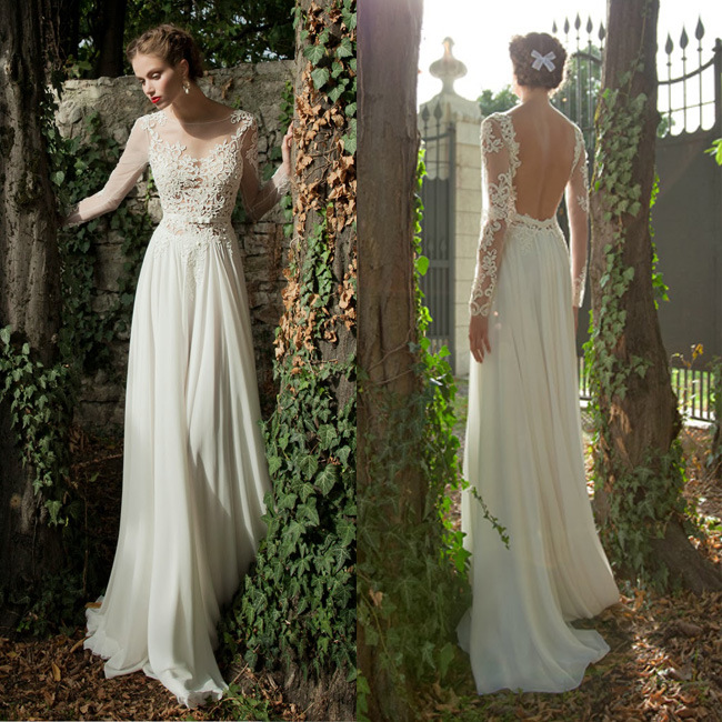 Wedding Gown Preservation Process Machines: China A-Line Straight Jewel Long Sleeves Sheer Front