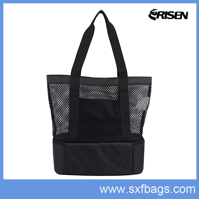 Durable Cotton Mesh Beach Tote Bag with Picnic Cooler Bag