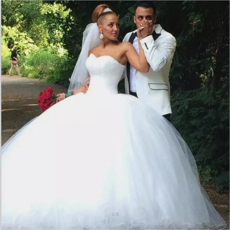 China Crystal Bridal Ball Gowns Red White Pink Tulle Puffy Real ...