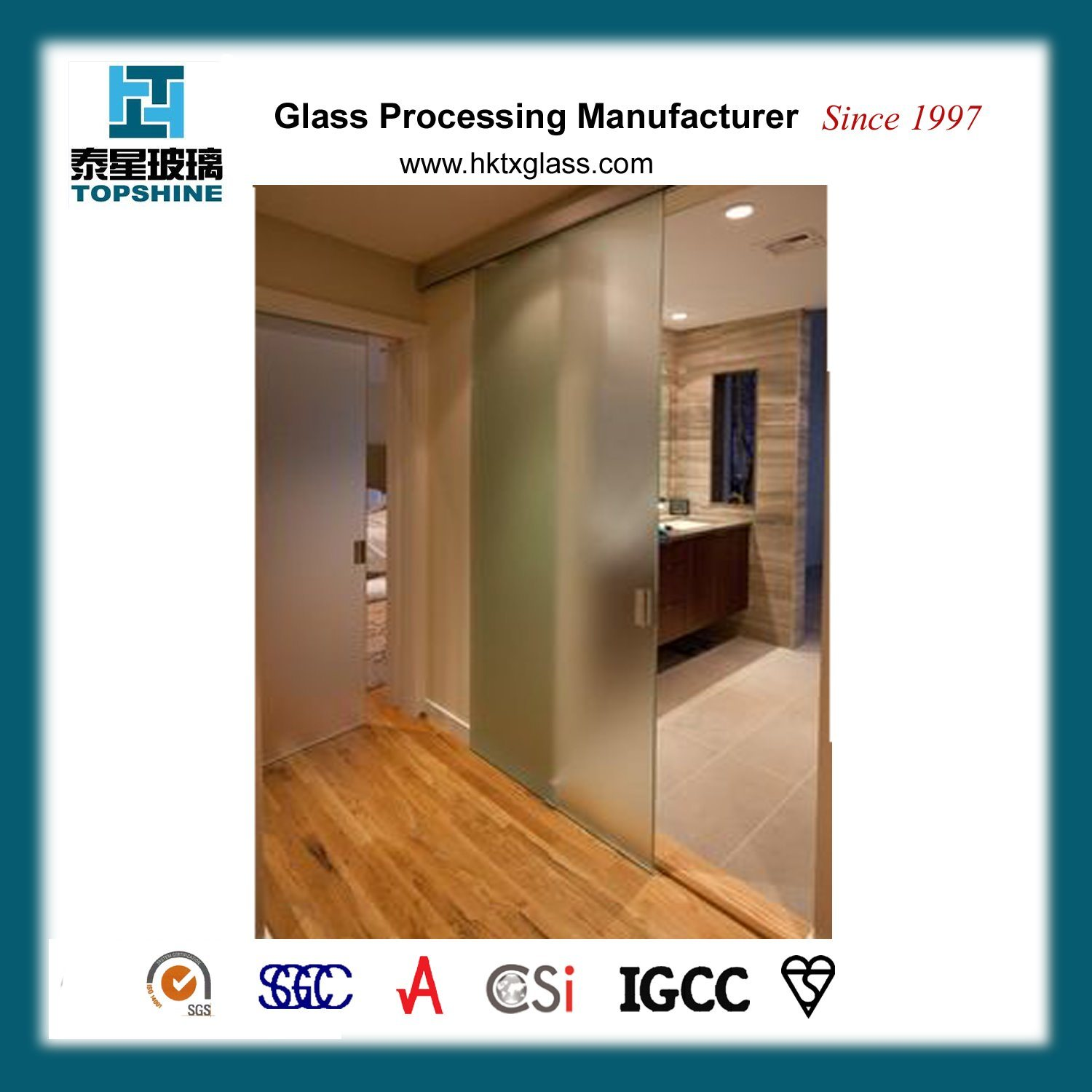 China Acid Etched Tempered Glass Sliding Door With En12150 Photos