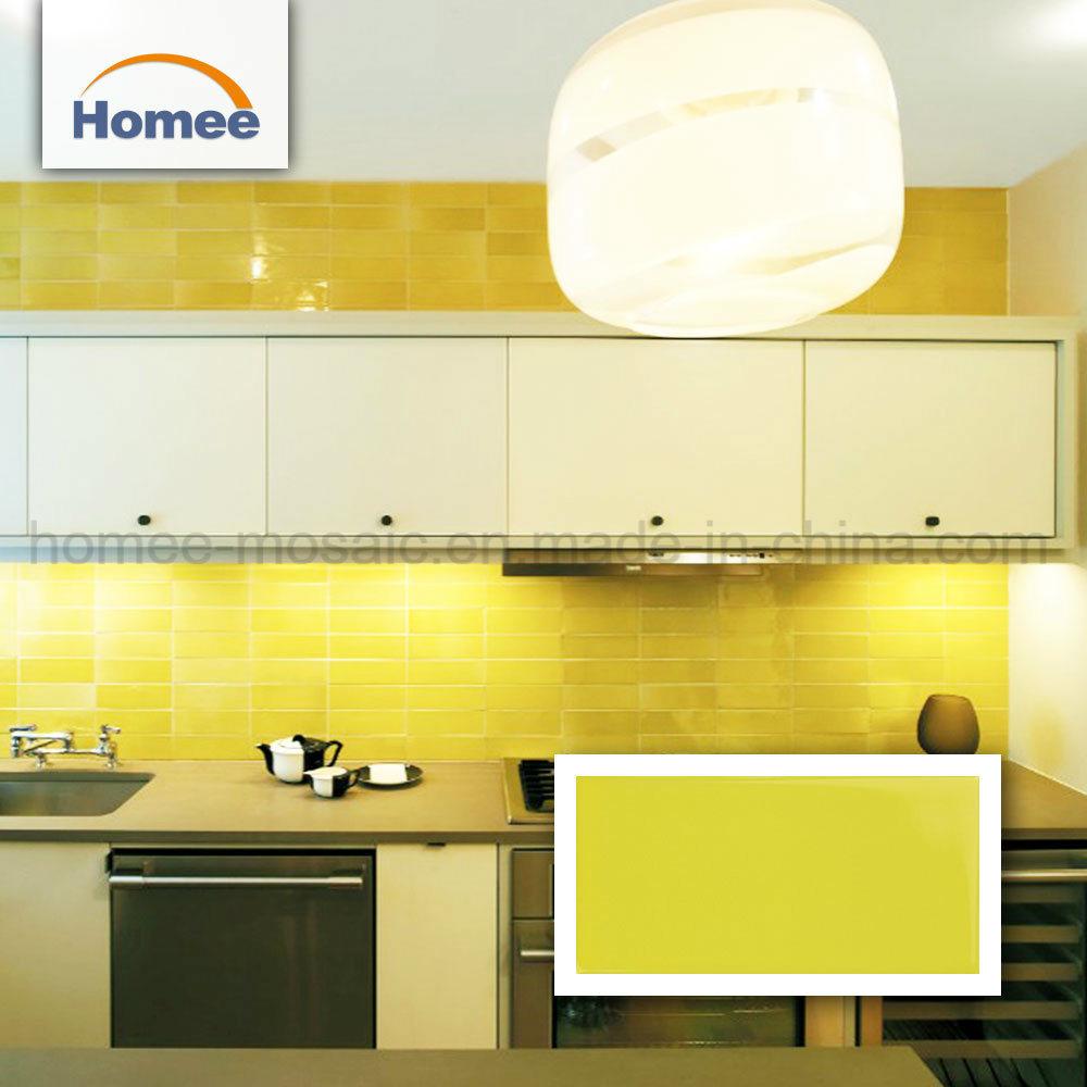 China Decorative Yellow Subway Mosaic Wall Tiles Bathroom Backsplash Tile Building Material Hardwood Flooring