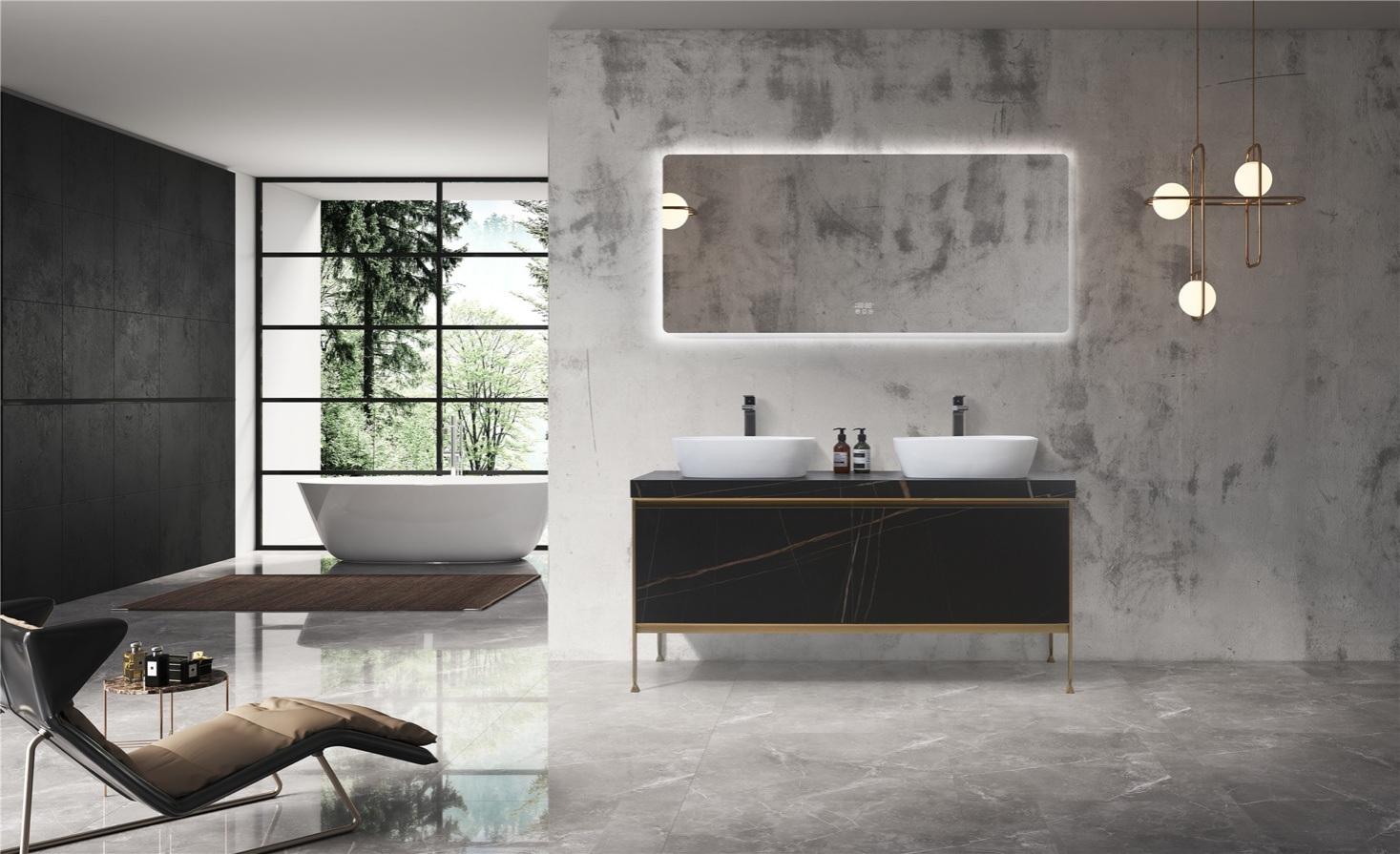 China Luxury Double Wash Basin Modern Free Standing Bathroom Vanity Cabinet 7615 China Bathroom Vanity Bathroom Cabinet