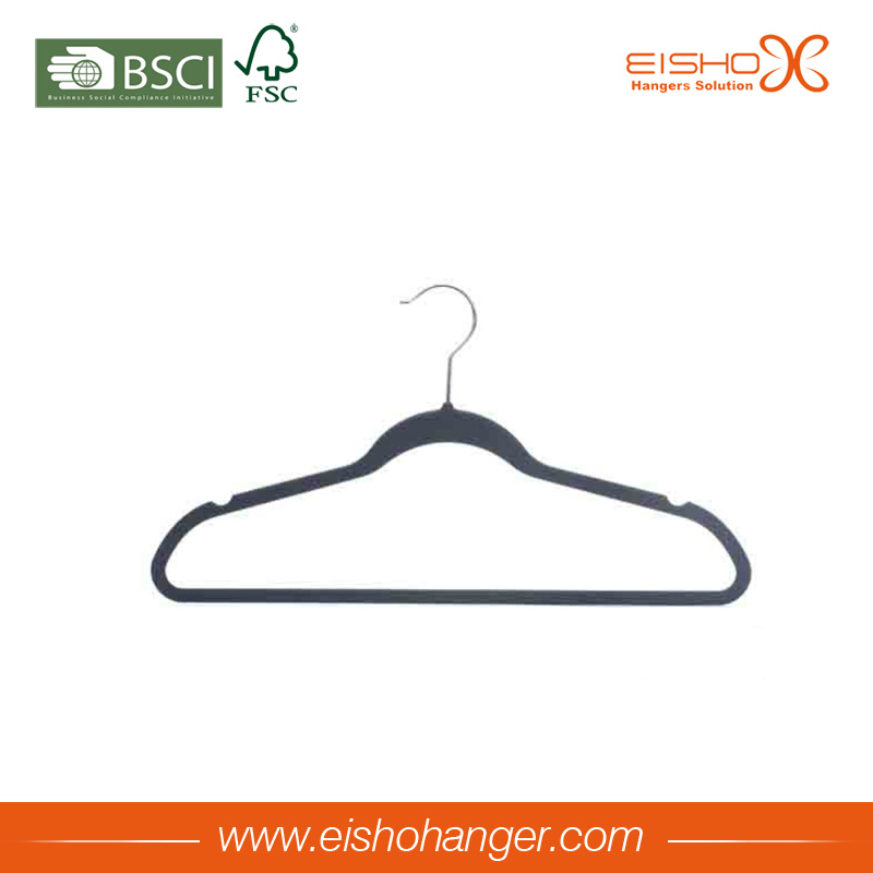 Non-Slip Clothes Garment Hanger Flocked Velvet Hanger for Wholesale