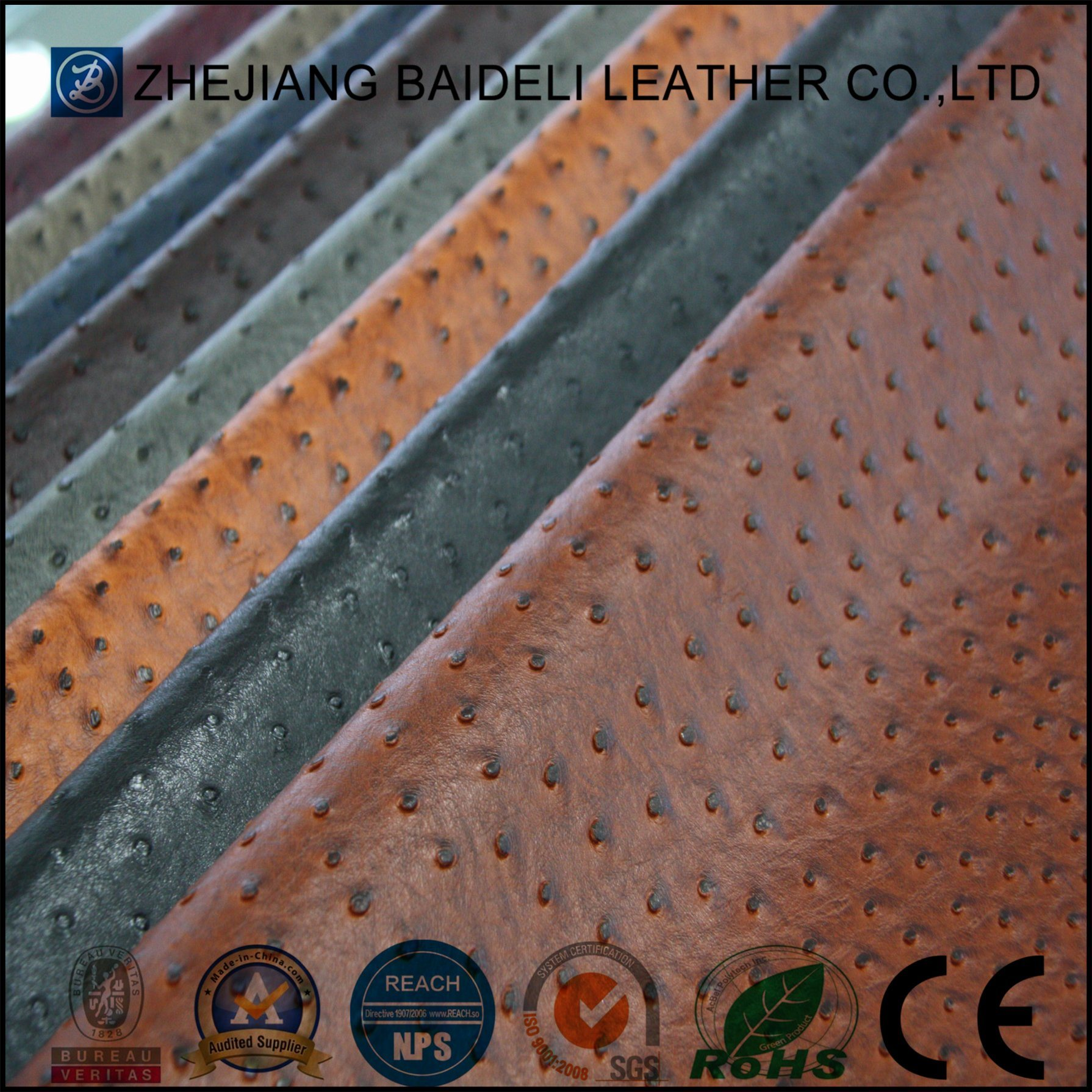 Ostrich Design PVC/PU Leather for Furniture and Bag with Fire Resistance