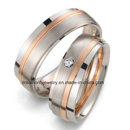 China Oem Design Rose Gold Plated Couple Wedding Bands Solid Brass
