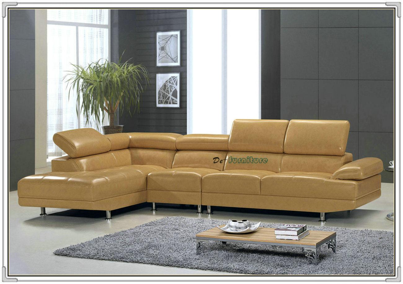 China Khaki Color L Shape Modern Living Room Futon Leather Sofa (A10 ...