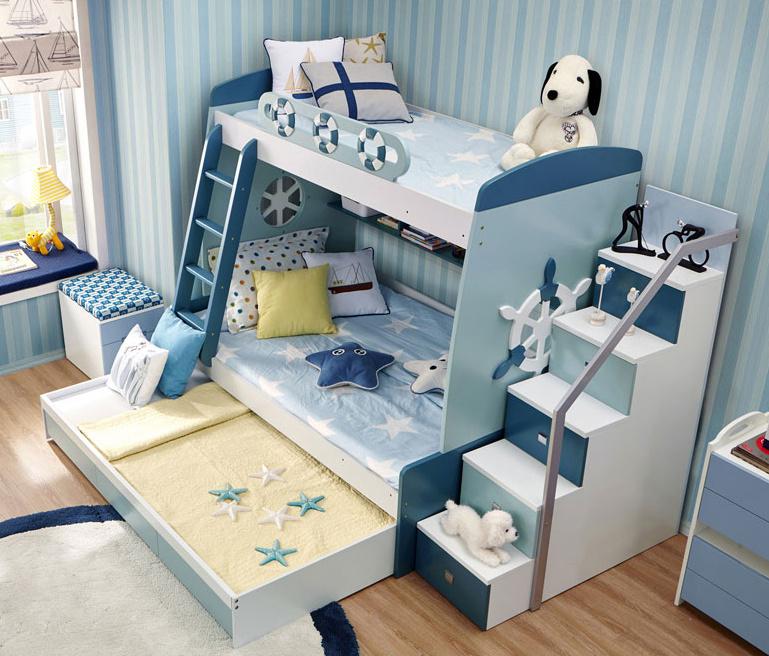 Hot Item Customized Kids Bedroom Furniture Wood Children Bunk Bed