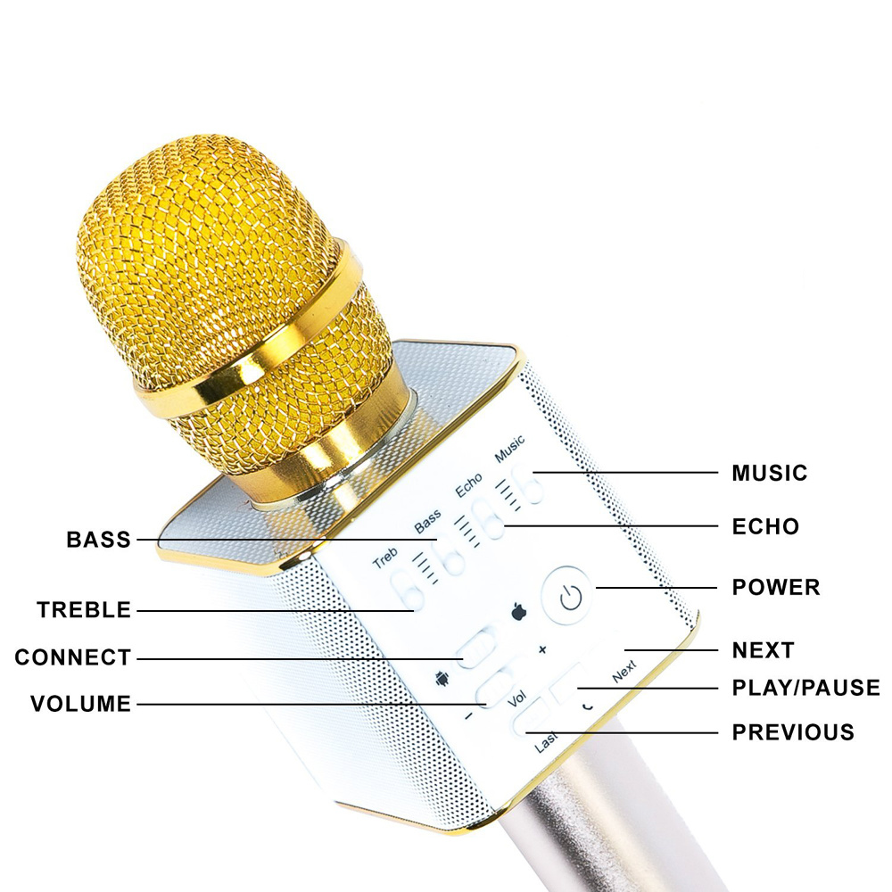 China Q9 Wireless Condenser Bluetooth Professional Microphone Use As Mic Karaoke Player Speaker