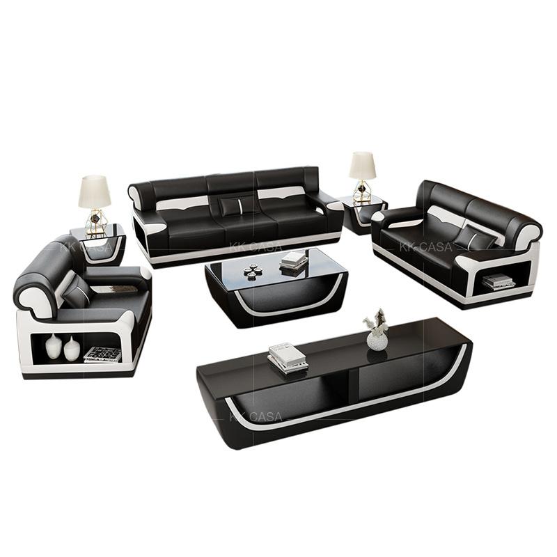 [Hot Item] 1 2 3 Cheaper Hot Black White European Fashion Living Room  Leather Sofa Sets Sofa