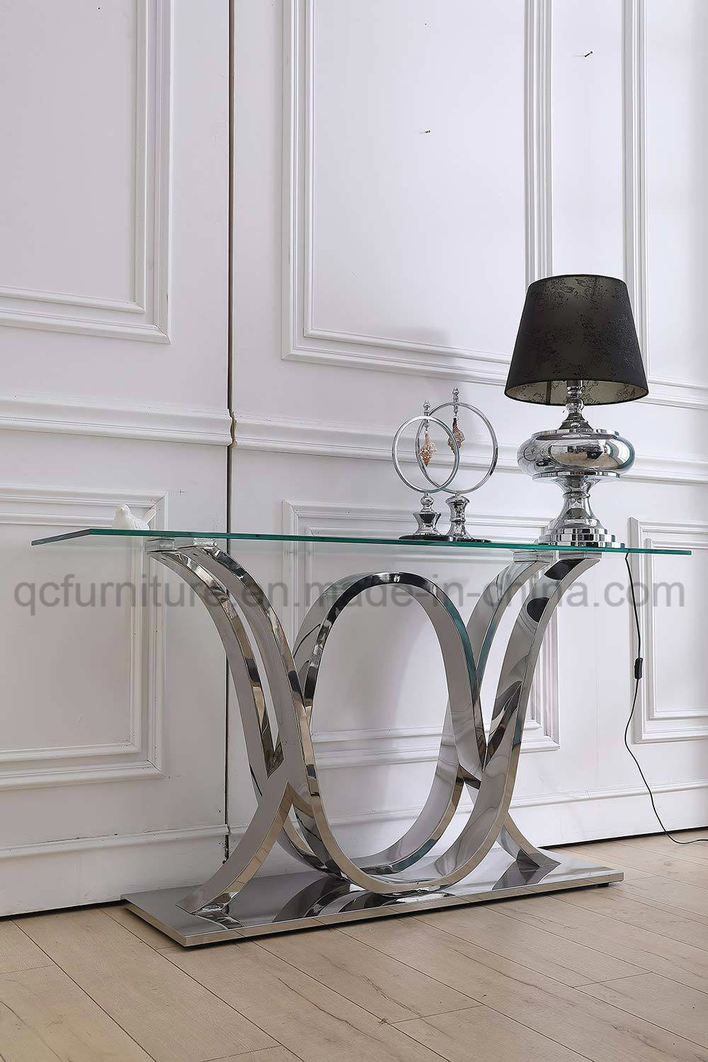 China hotel furniture clear glass top with silver base console table china console table marble top table