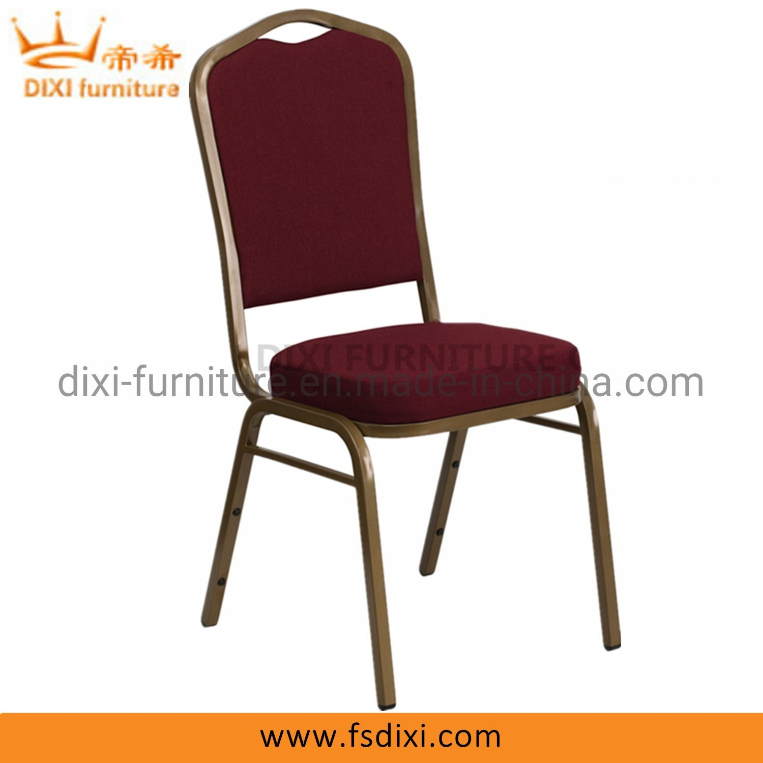 Hot Item Crown Back Stacking Banquet Chair In Burgundy Fabric Gold Frame