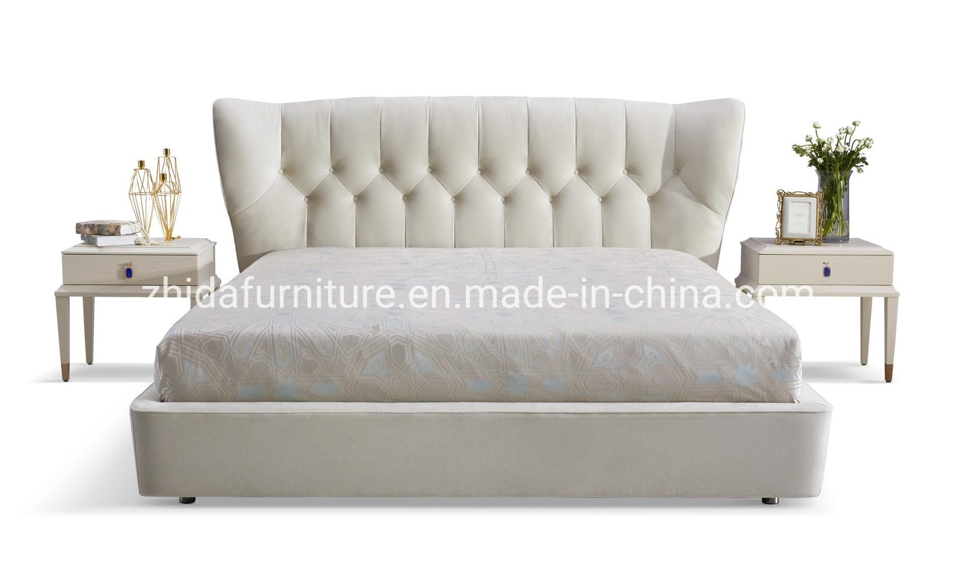 Image of: China Home Furniture Modern Furniture Beige Color Fabric Bedroom Bed China Modern Fabric Bed Bedroom Bed