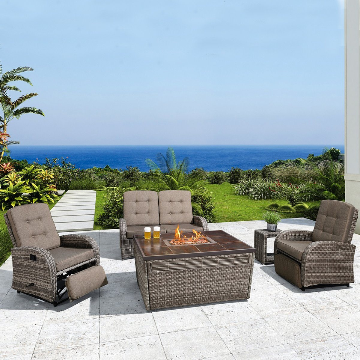 Picture of: China Patio Furniture Garden Sets Outdoor Recliner Sofa With Fire Pit China Outdoor Furniture Set Patio Couch Sets