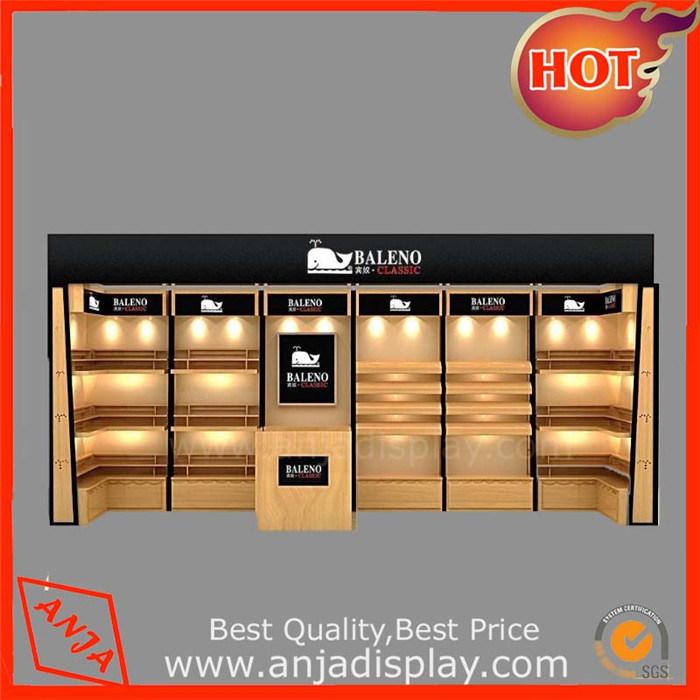 Clear Wooden Shoe Display Wall Shelf