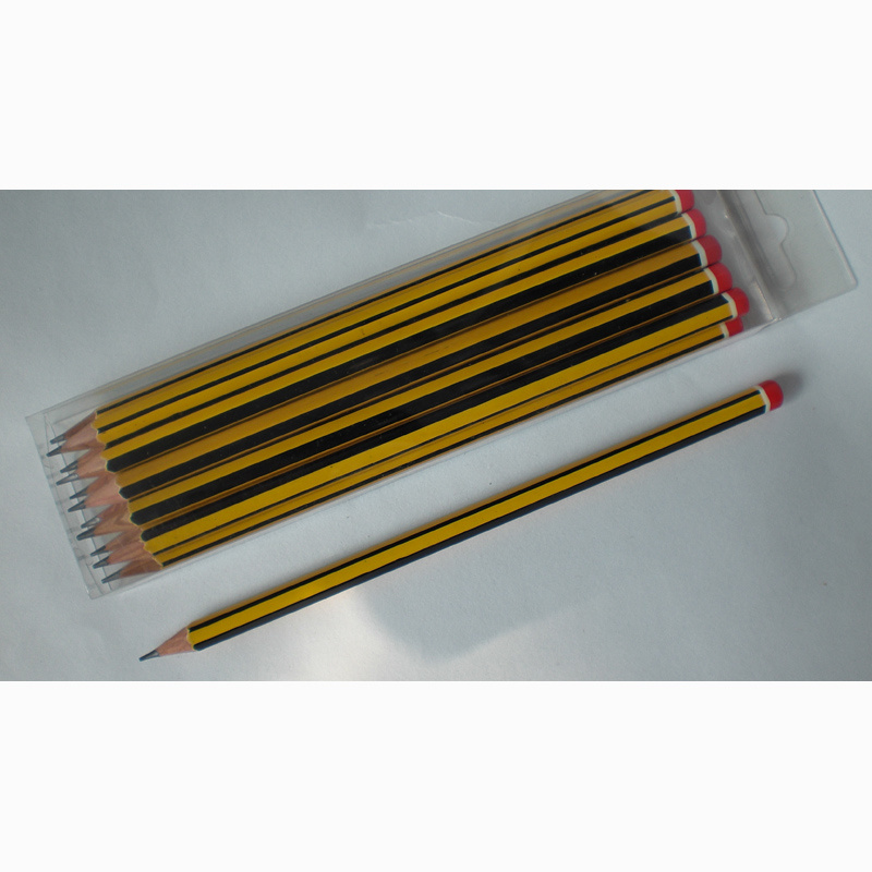 Black/Yellow Stripe Pencils Hb with DIP End (1616) pictures & photos