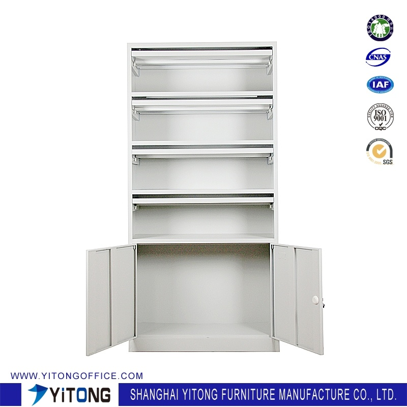 2-Door Magazine Rack Metal Storage Cabinet / Office Use Steel File Cabinet