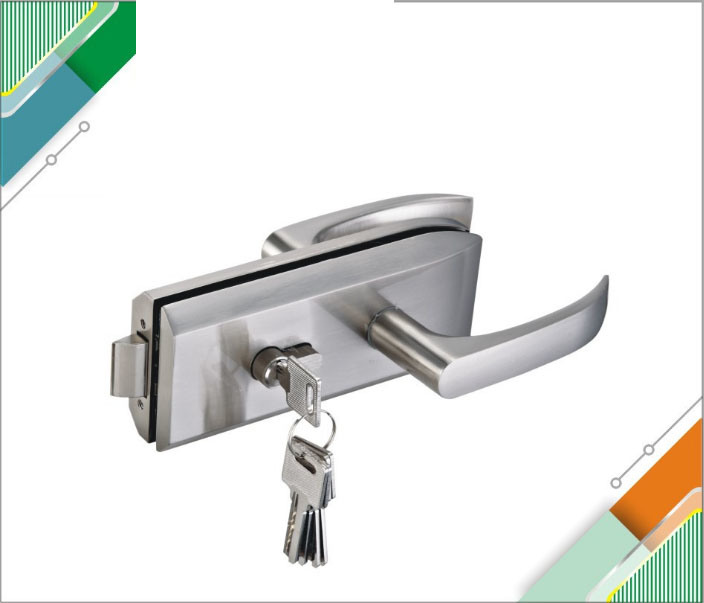 China Zinc Alloy Satin Gate Glass Door Lock With Lever Handle Security