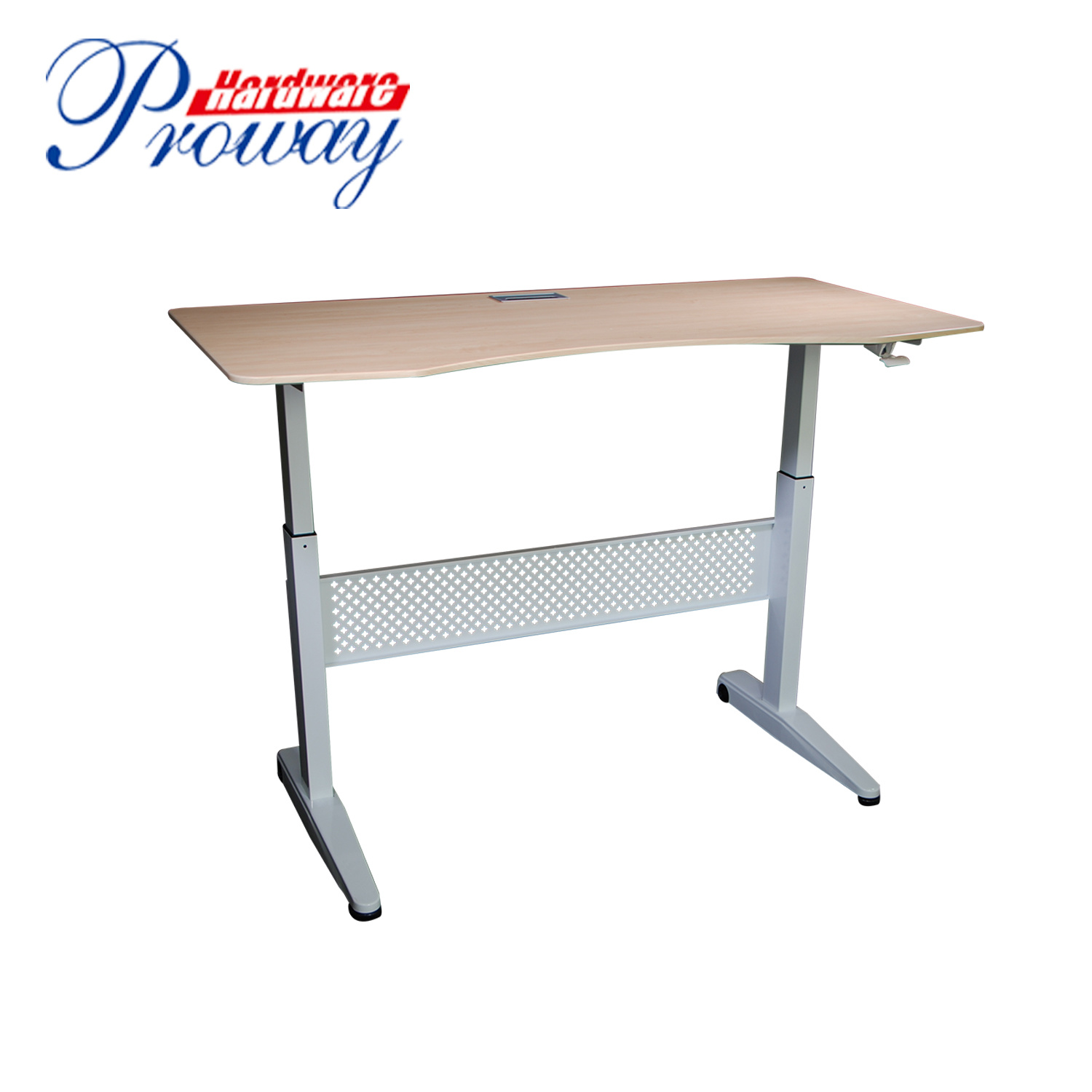 [Hot Item] Hydraulic Height Adjustable Standing Office Desk Frame with  Folding Legs