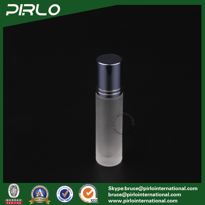 10ml Frosted Glass Roll on Bottle with Glass Roller and Blue Cap