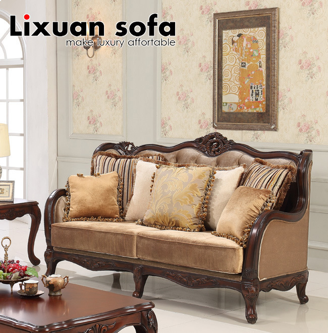Fabric Sofa With Wood Frame Antique