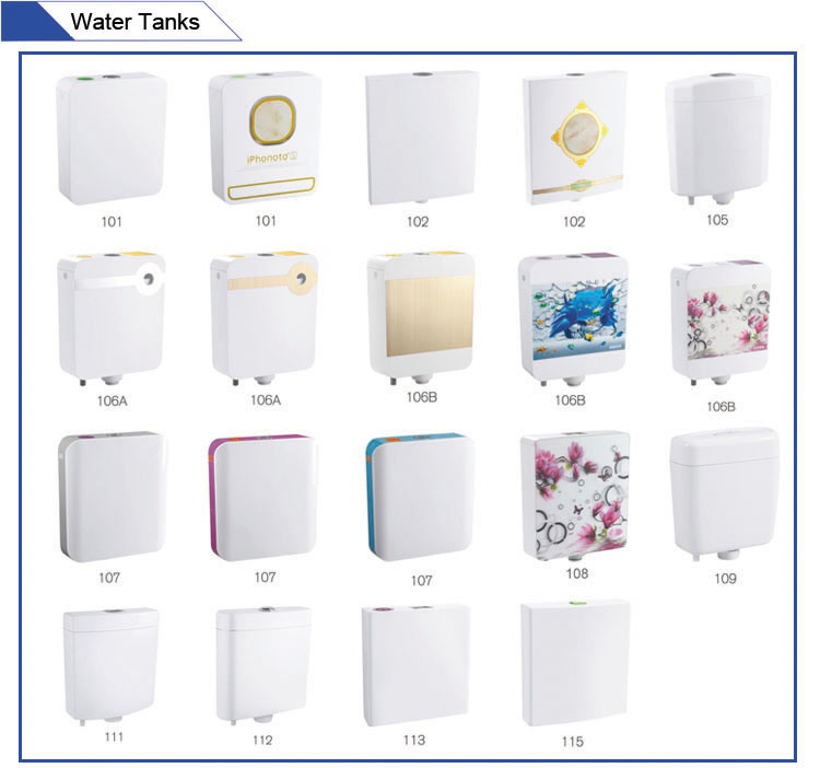 Jet-107 Dual Flush Wall Mounted Custom Color Plastic Toilet Cistern pictures & photos