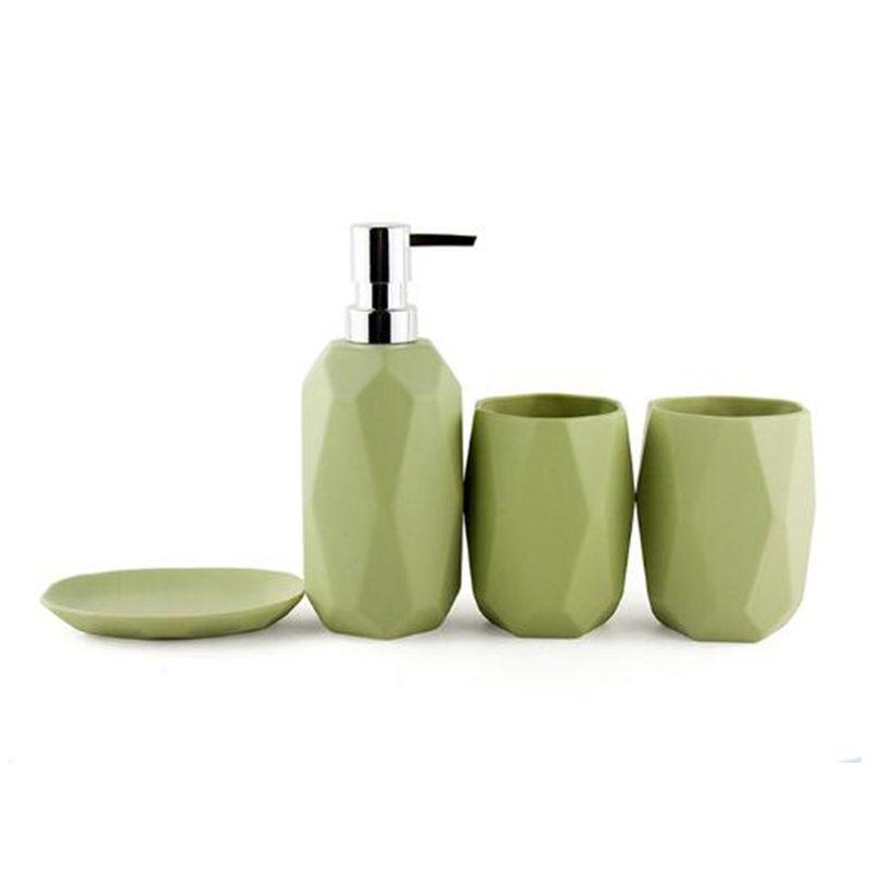 Green Bathroom Accessories Set Ceramics