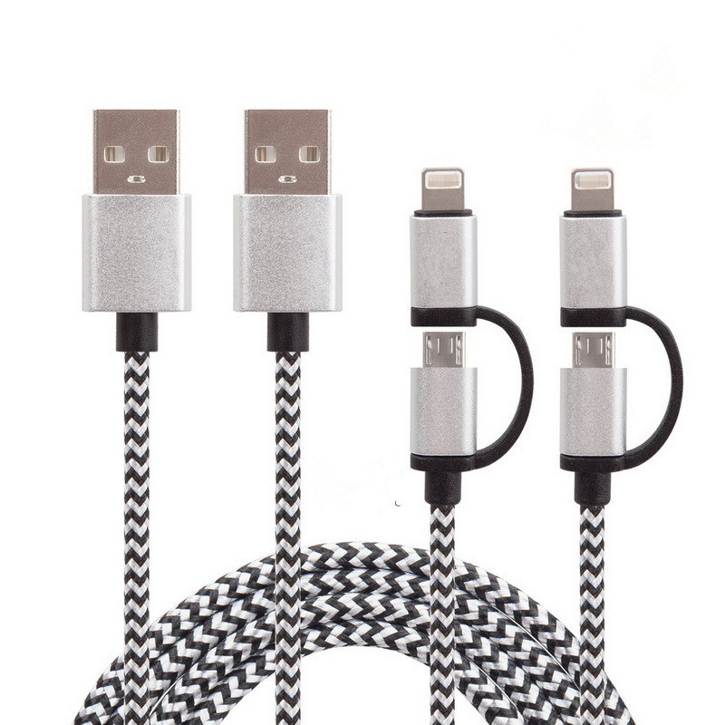 1m Nylon Insulated  2 in 1 Charging and Sync USB Cable for iPhone, Samsung, iPad