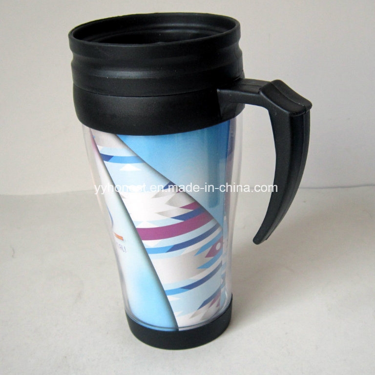 [Hot Item] Double Wall Food Grade Plastic PP Coffee Travel Mug with Handle
