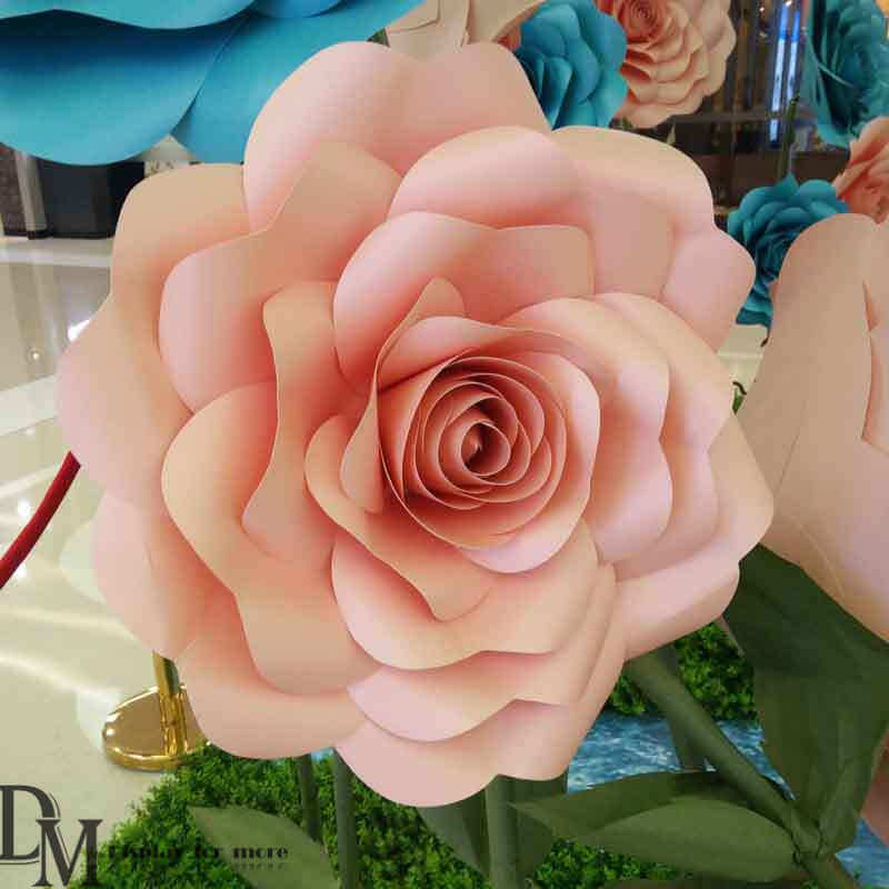 Hot Item Colorful Giant Paper Flower Wall Decor For Mall Shop Window Display
