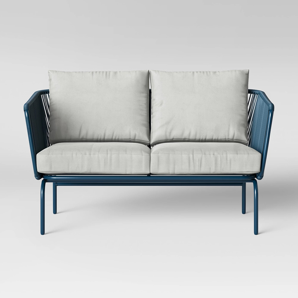 Hot Item Outdoor Indoor Modern Simple Design Rope Woven Patio Loveseat Sofa