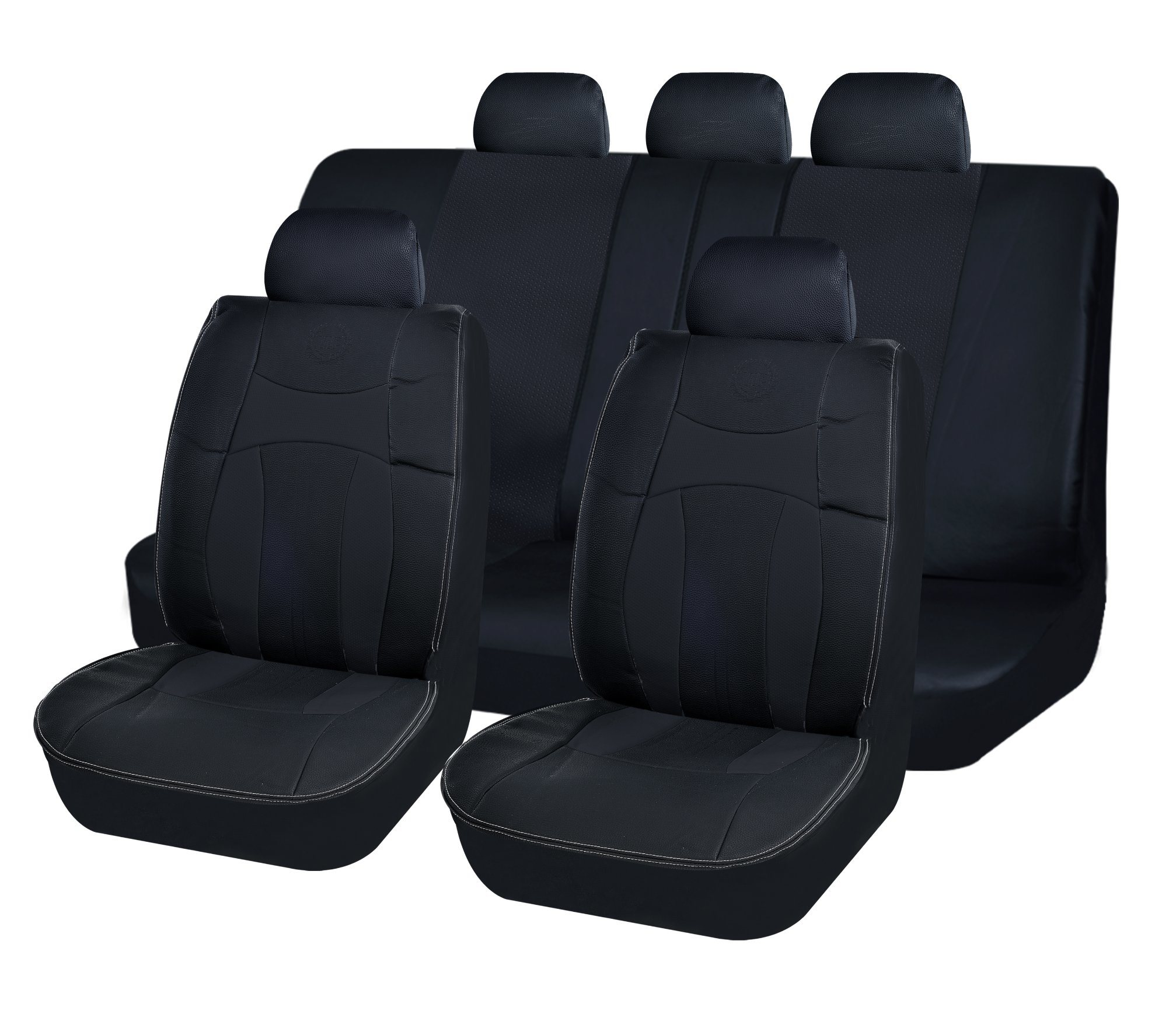 Universal High-Quality PU Leather /& Fabric Black Front Car Seat Covers Cushion