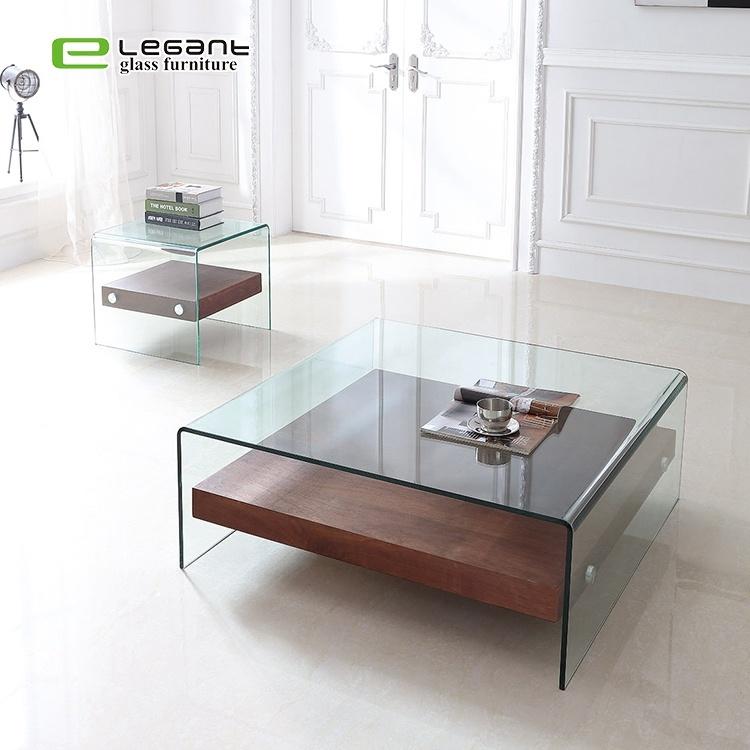China Modern Design Glass Center Table Square Transparent Glass