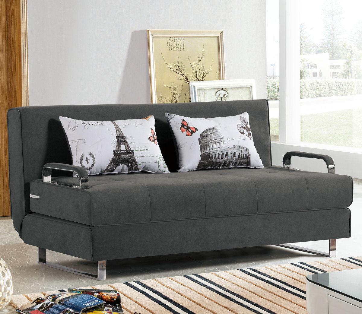 [Hot Item] Dark Grey Color Natural Cotton Fabric Sofa Bed for Apartment  Furniture (1807)