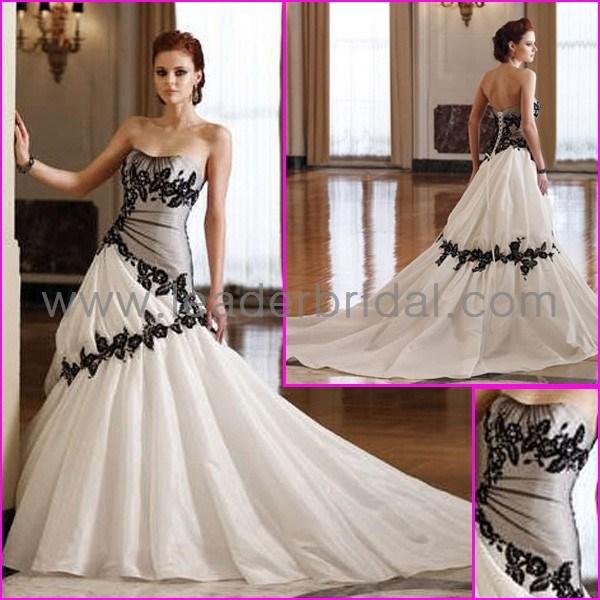 China Taffeta Bridal Gowns Sweetheart Embroidery Black White Wedding ...
