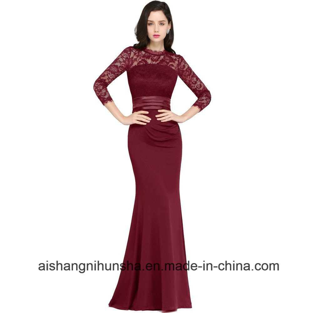 d1ed47117e9 Maroon Lace Long Sleeve Prom Dress