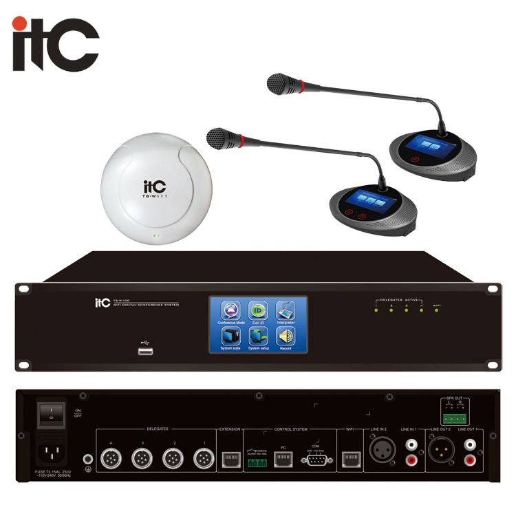 China Multilingual Wireless Conference Microphone System For Meeting Room Project China Wireless Conference Microphone System Audio Conference System