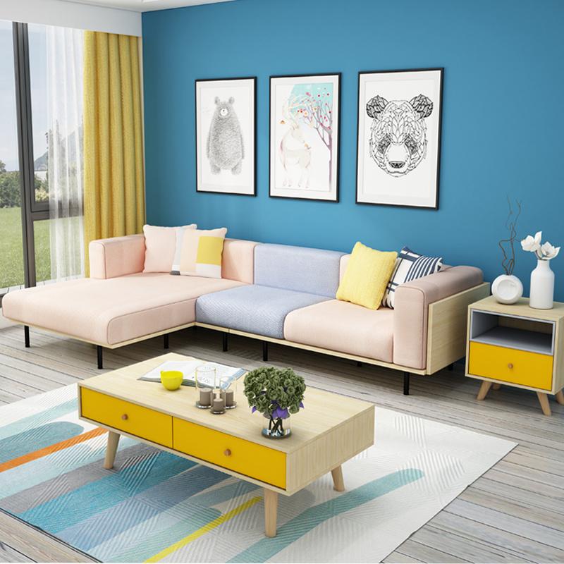 china european nordic corner l shape fabric sofa modern contemporary