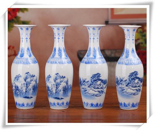 China Ceramic Decorative Blue And White Small Eggshell Flower Vases