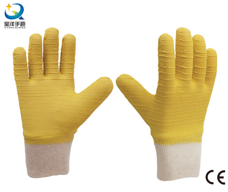 Knit Wrist, Latex Fully Coated Work Gloves   (L032)