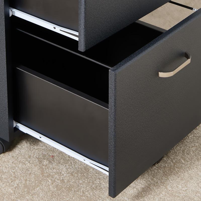 Black Color Office Use 3 Drawer Under Table Metal Storage Pedestal Cabinet