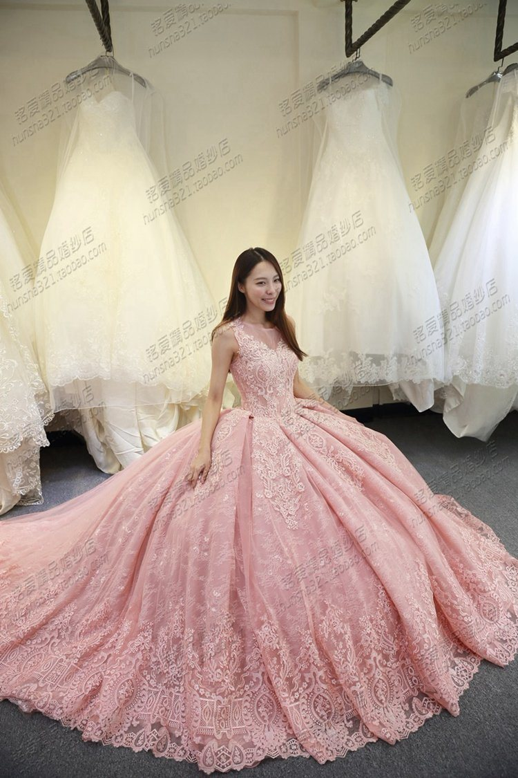China Pink Lace Wedding Ball Gowns Girl Quinceanera Formal Dress ...