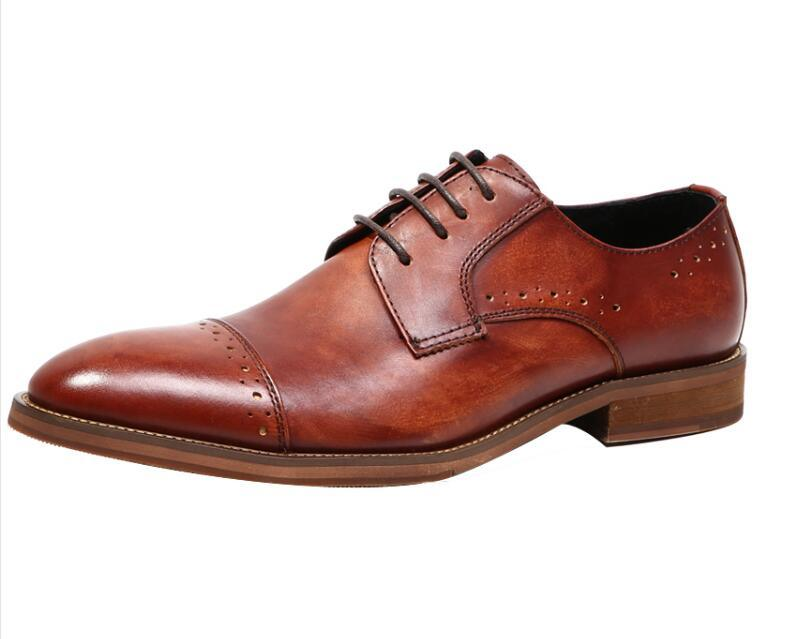 China Bespoke Mens Brown Lace Up Dress Shoes Men Formal Shoes