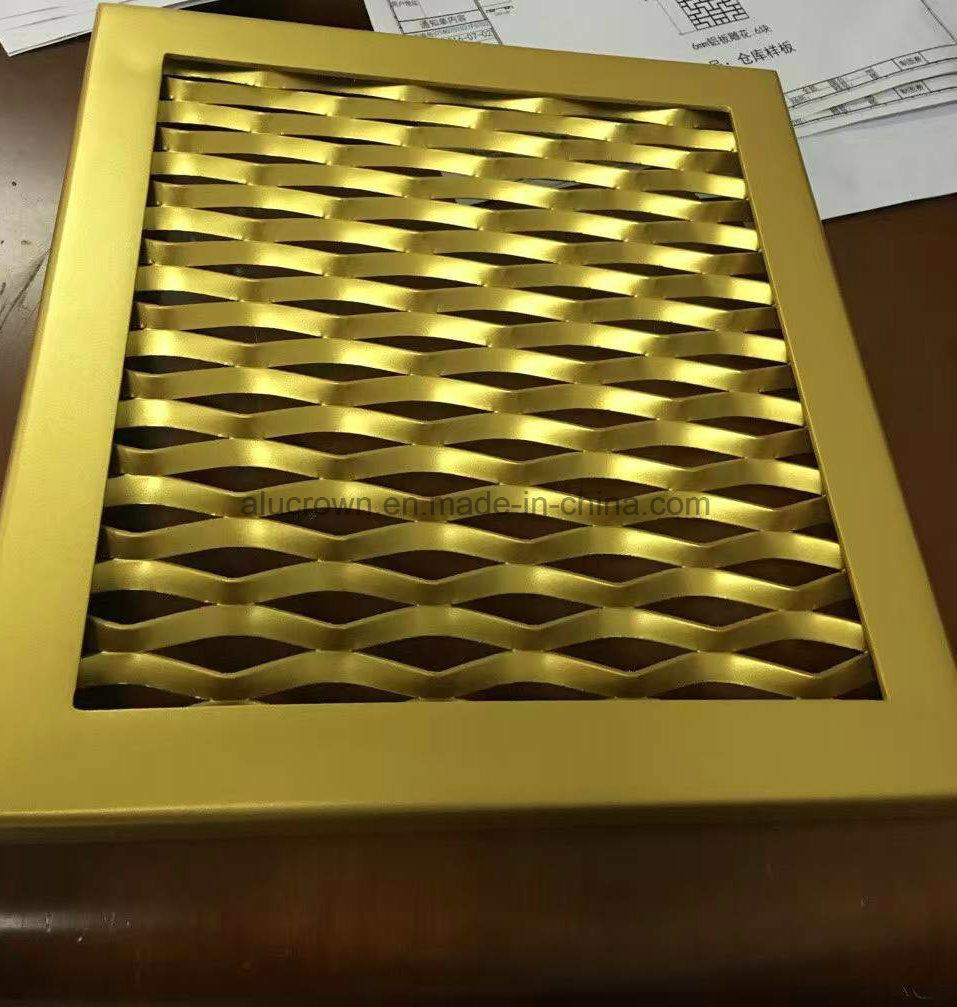 China Gold Color Surface Treatment Aluminum Mesh Panel Wall Cladding ...