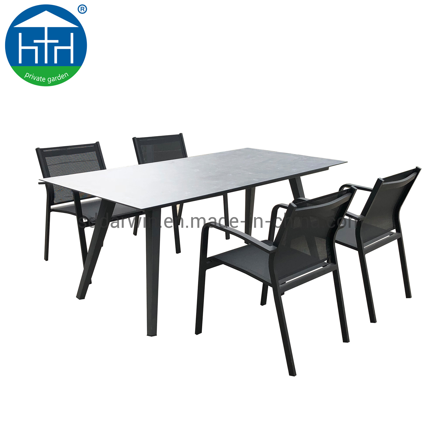 China Modern Extendable Alchemy Glass Dining Table All Weather Aluminum Batyline Chair Outdoor Furniture Photos Pictures Made In China Com