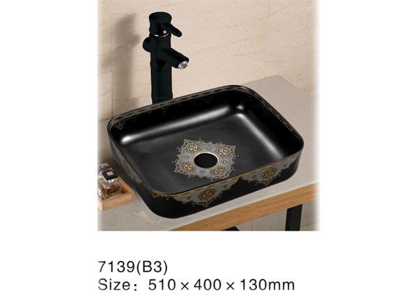 066bd Ceramic Sanitary Ware, Black Wash Basin with Golden Decal pictures & photos