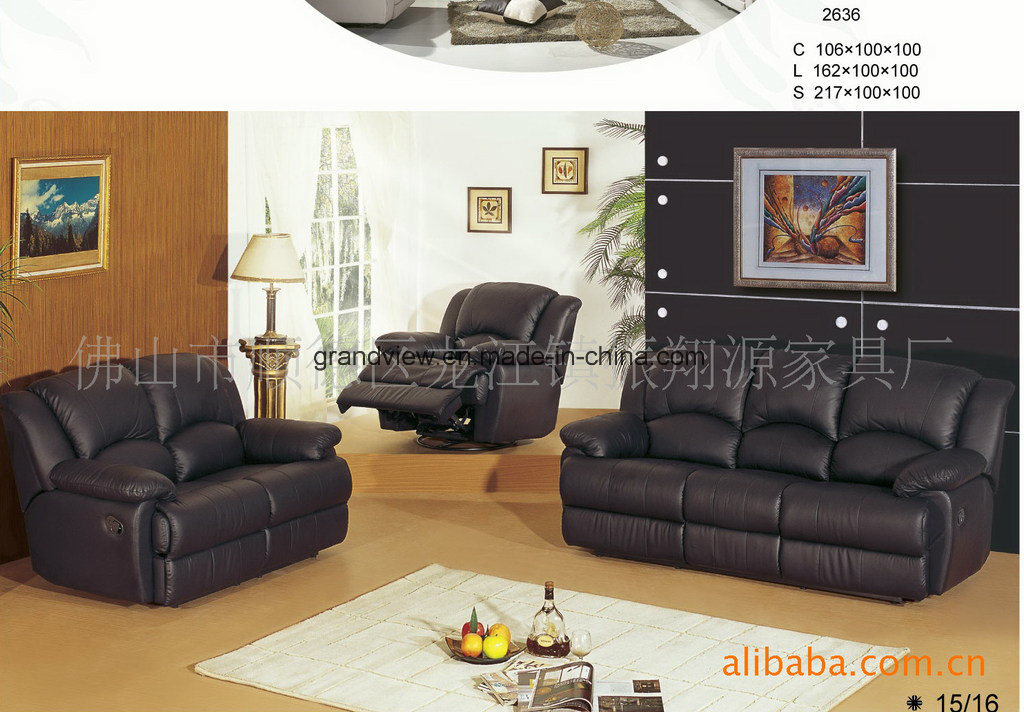 Lifestyle Real Top Leather Sofa, Loveseat, Chair with Drop Down Table, 5 Recliners